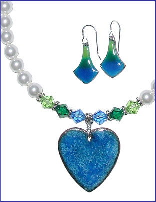 Blue/Green Enameled Heart